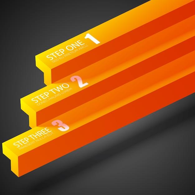 Бизнес абстрактная инфографика с оранжевыми прямыми полосами и тремя вариантами на темноте Бесплатные векторы