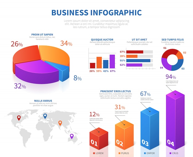 Business abstract infographics with 3d pie info char and graph bar Premium Vector