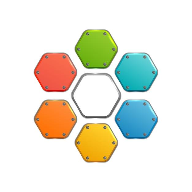 分離された白のカラフルな金属の六角形のボタンとビジネス抽象的なウェブ要素コレクション 無料ベクター