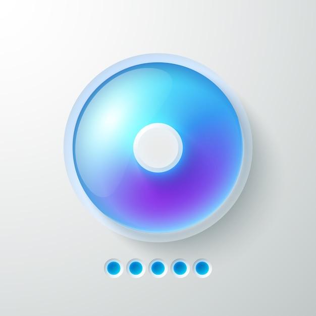 Modello di interfaccia web astratta di affari con pulsante luce blu Vettore gratuito