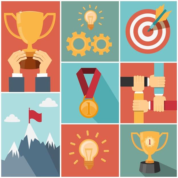 ビジネス達成目標、成功の概念ベクトルイラスト 無料ベクター