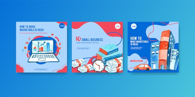 Business ad banners Free Vector