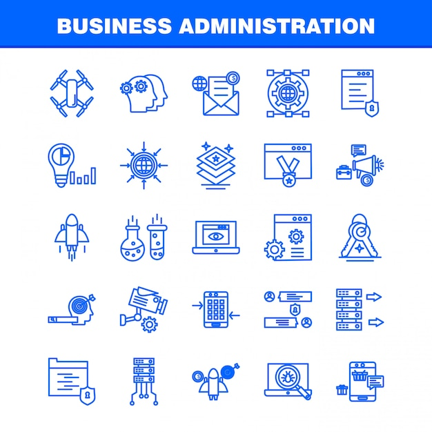 Business administration line icons set for infographics, mobile ux/ui kit Premium Vector