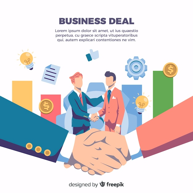 Business agreement shaking hands Free Vector