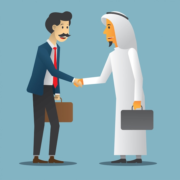Business agreement with two man Premium Vector