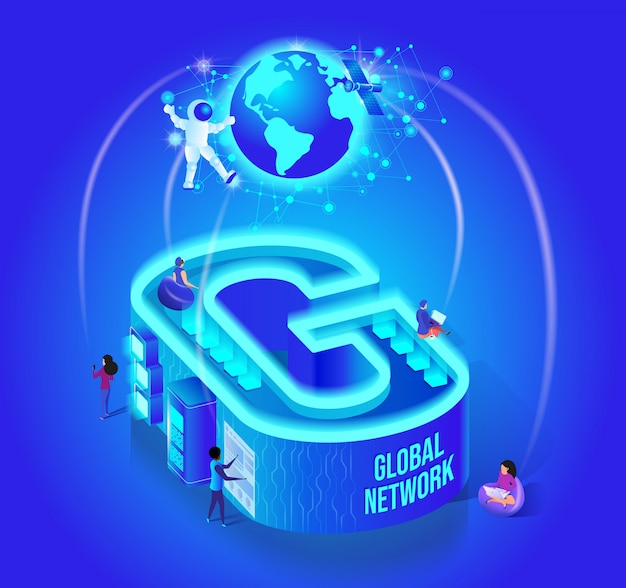Business alphabet isometric vector concept Premium Vector