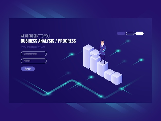 Business analysis and progress concpet,\ businessman, schedule of data