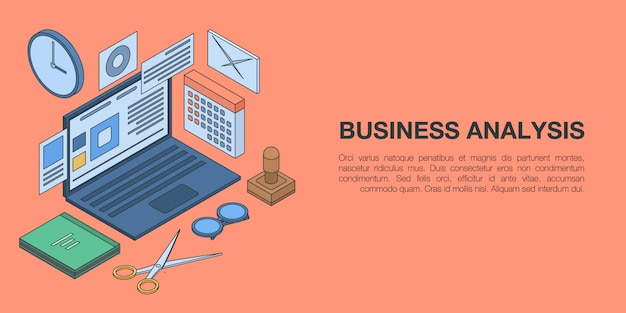 Business analysis concept banner, isometric style Premium Vector
