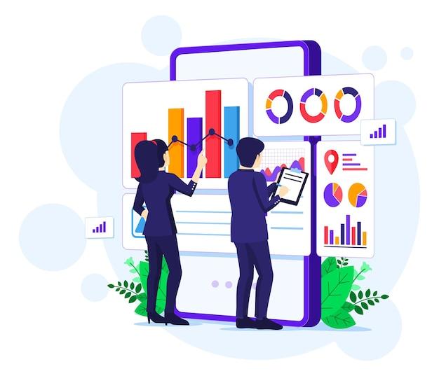 비즈니스 분석 개념, 사람들은 큰 휴대 전화 앞에서 작동합니다. 감사, 재무 컨설팅 일러스트레이션 프리미엄 벡터