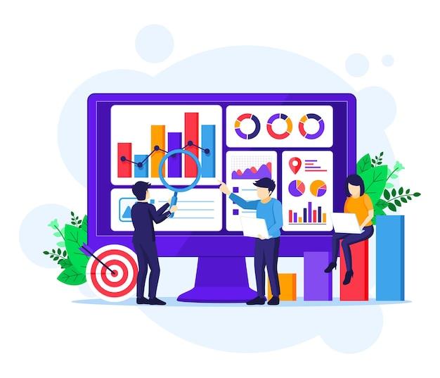 Концепция бизнес-анализа, люди работают перед большим экраном. аудит, финансовый консалтинг иллюстрация Premium векторы