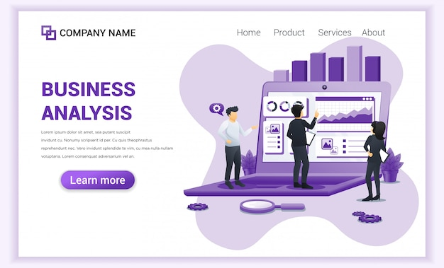 Business analysis concept with characters. auditing, financial consulting. Premium Vector