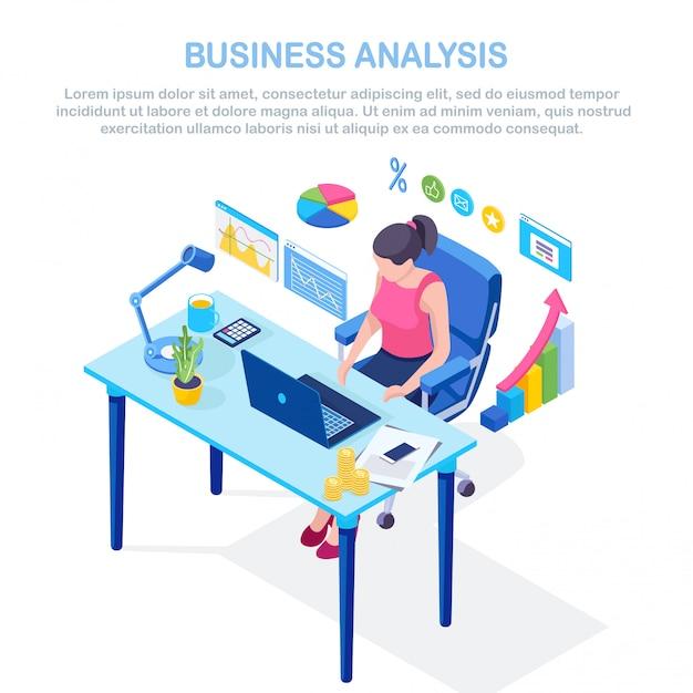 Бизнес-анализ, аналитика данных, статистика исследований, планирование. изометрическая 3d женщина, работающая за столом в офисе. график, диаграммы, диаграмма. люди анализируют, планируют развитие, маркетинг. Premium векторы