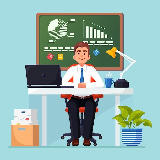 ビジネス分析、データ分析、調査統計、計画。オフィスのデスクで働く男 Premiumベクター