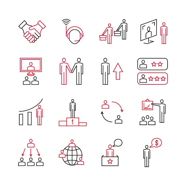Business analysis and expert support of customers icons Premium Vector