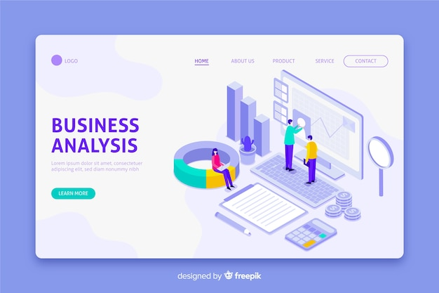 Business analysis landing page in isometric design Free Vector