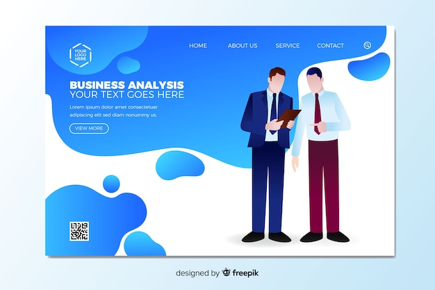 Business analysis landing page template Free Vector