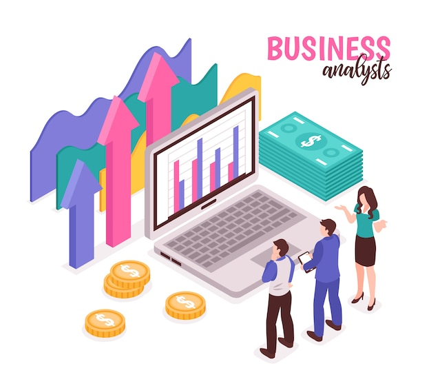 Business analyst composition with data diagrams and statistics isometric Free Vector
