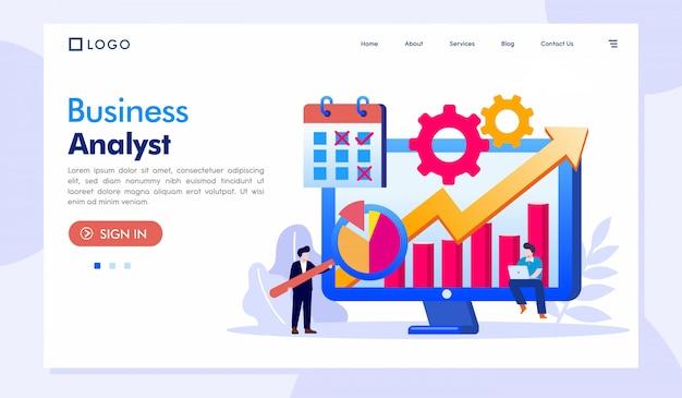 Business analyst landing page website template Premium Vector