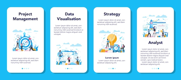 Business analyst mobile application banner set. business strategy and project management. optimization and progress. people working with graph and diagram. Premium Vector