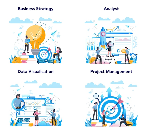 Business analyst web banner or landing page set. business strategy and project management. optimization and progress. people working with graph and diagram. Premium Vector