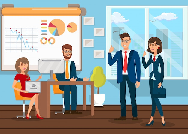 Business analysts teamworking Premium Vector