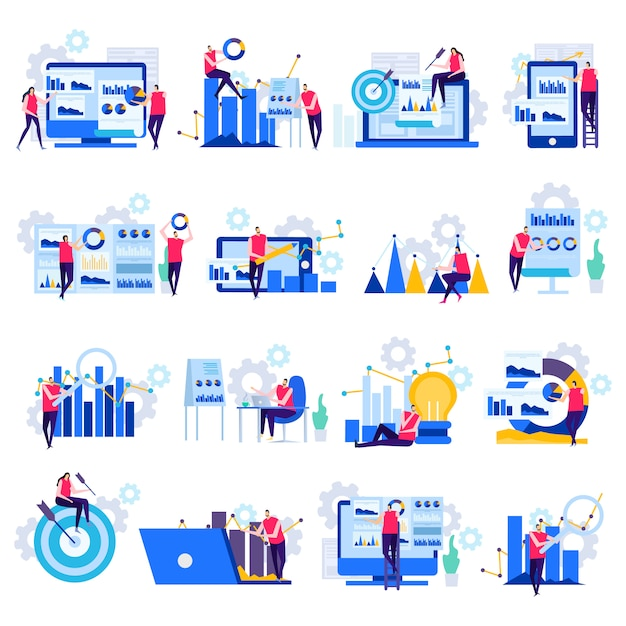 Icone piane di analisi dei dati aziendali Vettore gratuito