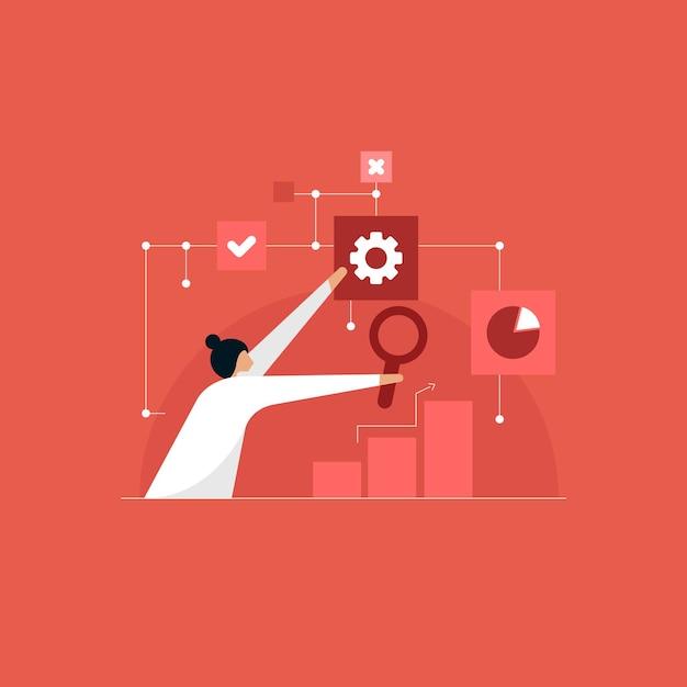 ビジネス分析インテリジェンスの概念、利益と財務を分析するための財務チャート Premiumベクター