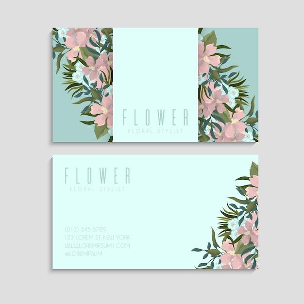 꽃 패턴으로 비즈니스 및 방문 카드입니다. 무료 벡터