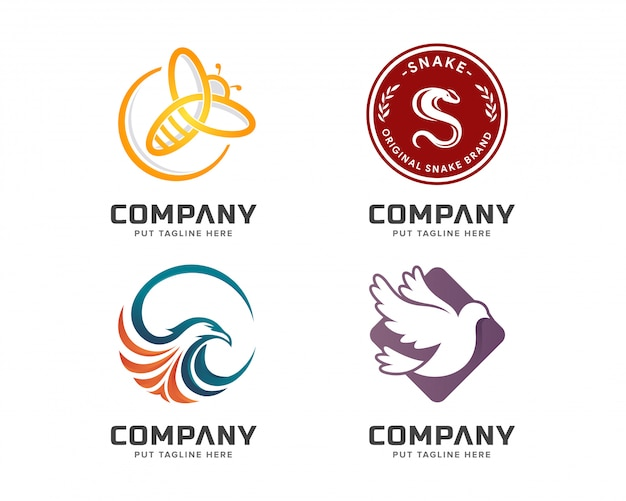 Business animal colorful logo template set Premium Vector