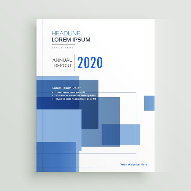 business annual report brochure template design with blue geometric shapes Free Vector