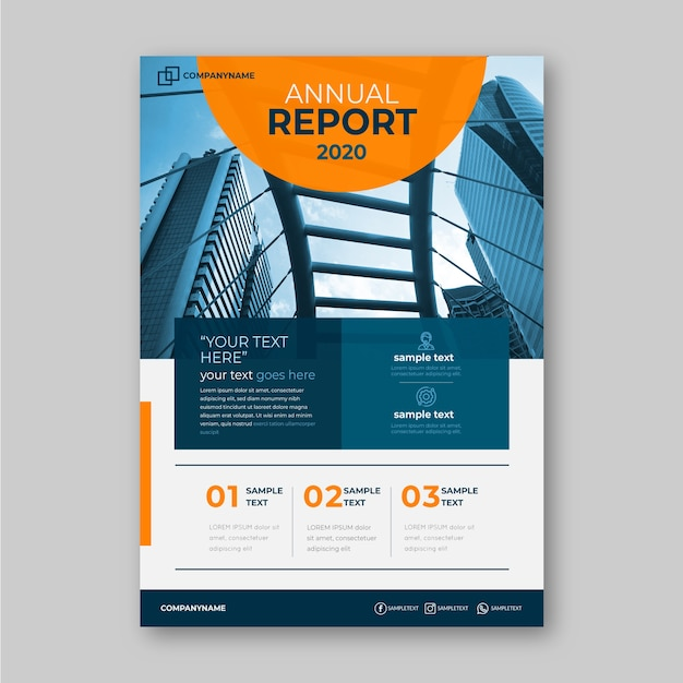 Business annual report template with photo concept Free Vector