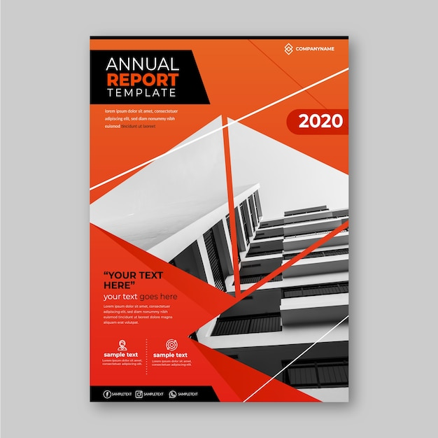 Business annual report template with photo design Free Vector
