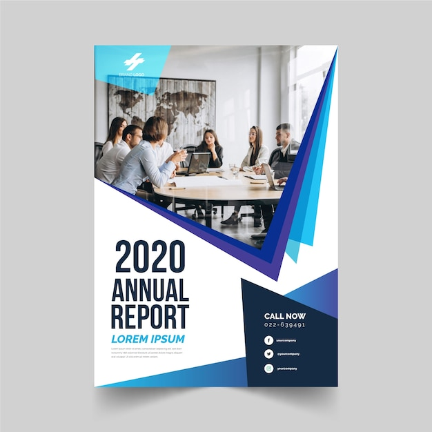 Business annual report template with photo style Free Vector