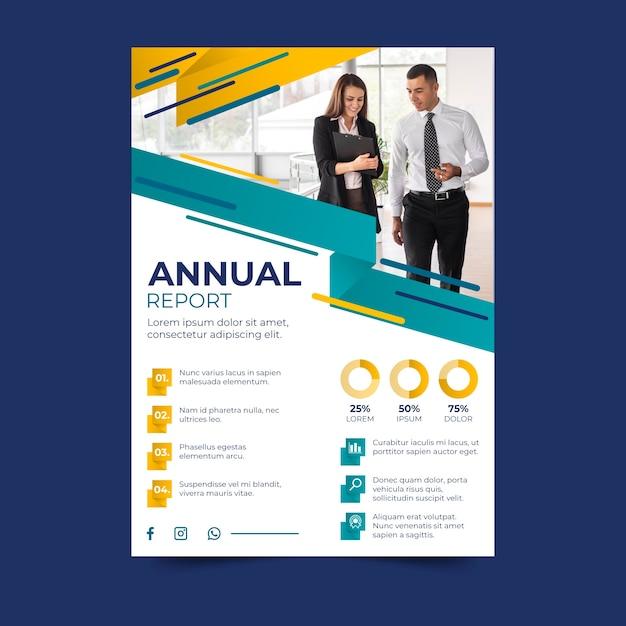 Rapporto annuale aziendale con foto Vettore gratuito