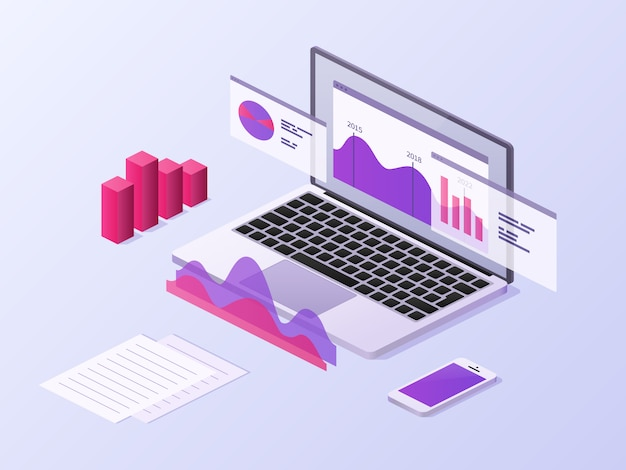 Business app isometric concept. 3d laptop and smartphone with data charts and statistics diagrams. mobile technology vector background Premium Vector