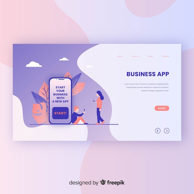 Business app landing page template Free Vector