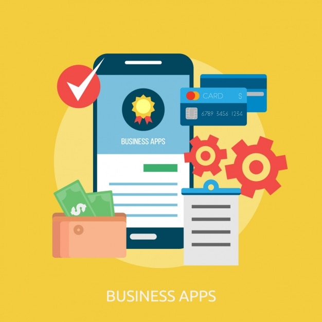 Business apps background design Free Vector