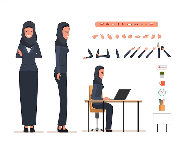 Business arab woman character for animation. Premium Vector
