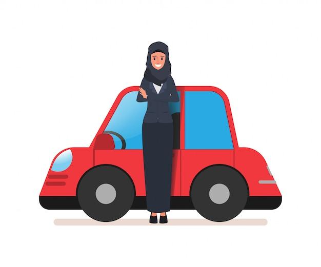 Business arab woman or saudi woman and her car. Premium Vector
