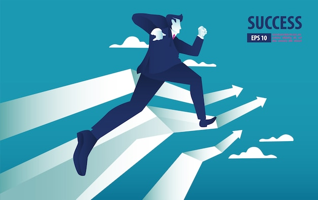 Business arrow concept with businessman on arrow flying to success. catch the opportunity.  background vector illustration Premium Vector
