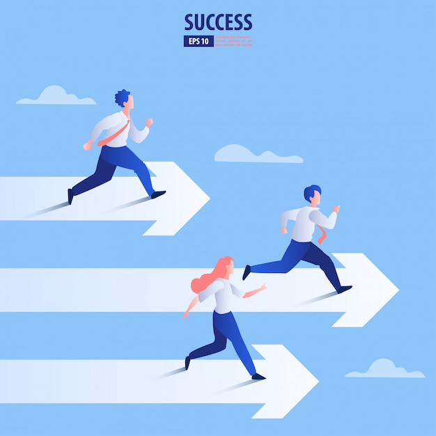 Business arrow concept with businessman on arrow flying to success. catch the opportunity. Premium Vector