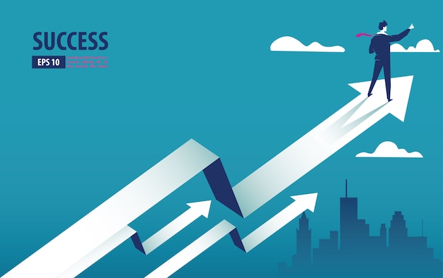 Business arrow concept with businessman on arrow flying to success Premium Vector