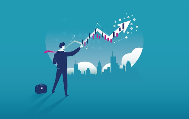 Business arrow concept with businessman and return on investment roi Premium Vector
