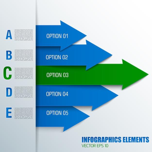青と緑の色の番号付きテキストフィールドを持つビジネス矢印図の概念 無料ベクター