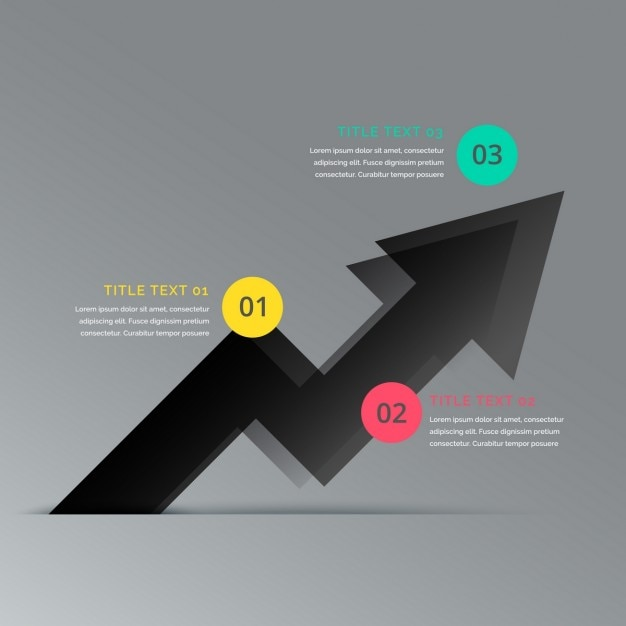 Business arrow infographic showing three steps Free Vector