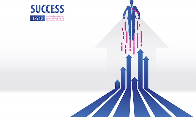 Business arrows concept with businessman flying to success Premium Vector