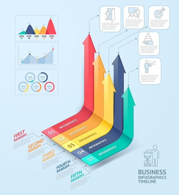ビジネス矢印インフォグラフィックテンプレート Premiumベクター