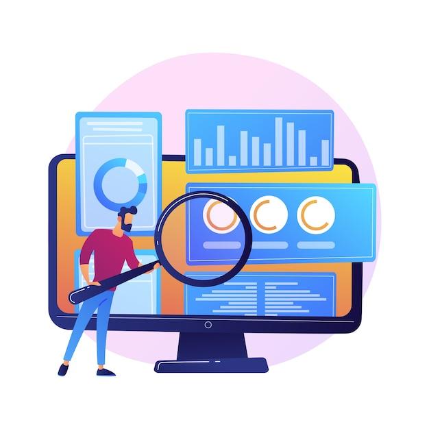ビジネス監査。拡大鏡付きの金融専門家の漫画のキャラクター。統計グラフィック情報の調査。統計、図、チャート 無料ベクター
