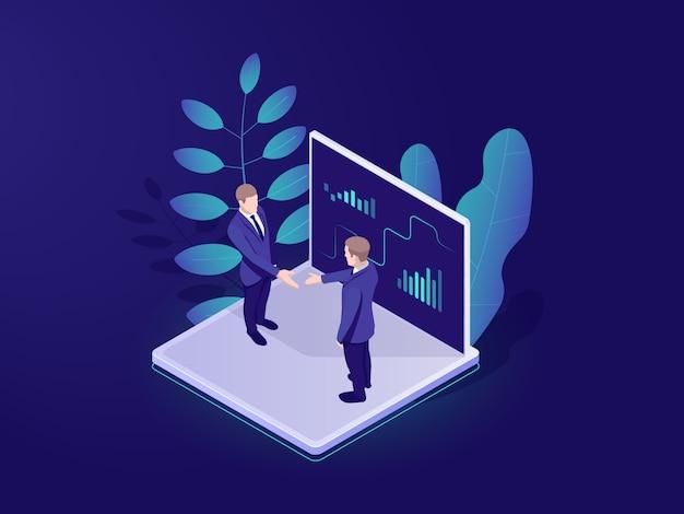 Бизнес автоматизированная аналитическая система изометрической значок, бизнесмен провести встречу Бесплатные векторы
