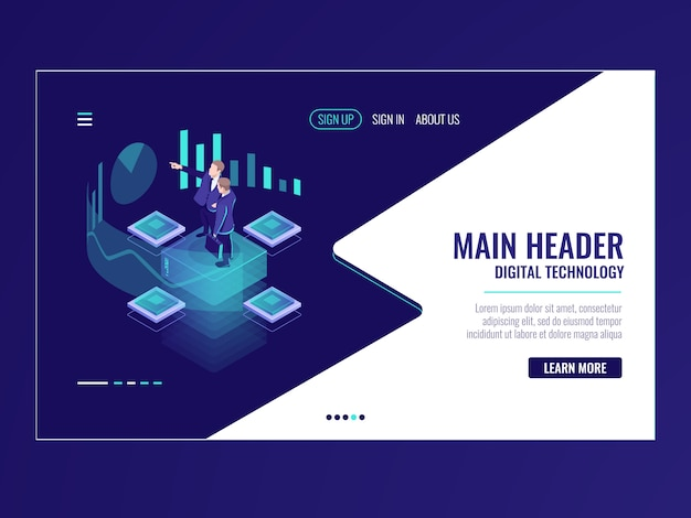Business automated analytic system isometric icon, businessman hold a meeting Free Vector